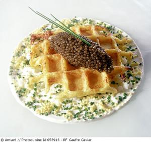 Gaufres de pomme de terre au caviar osciètre